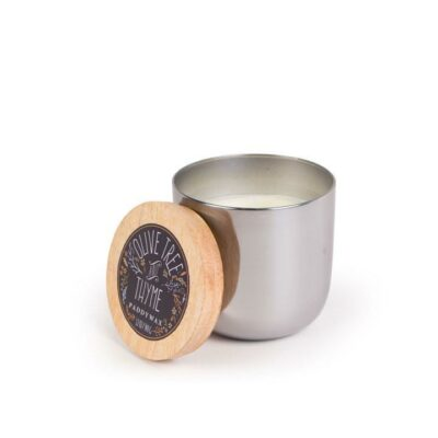 Olive Tree & Thyme Silver Metallic Candle