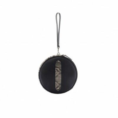 Round Clutch Petit Trianon Black Python