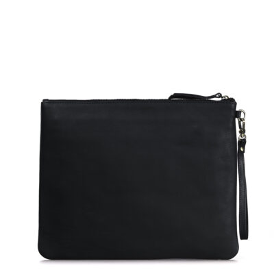 Large Black Leather The Scottie Multifunctional Clutch