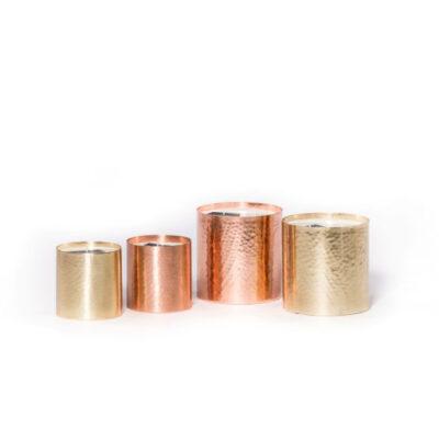 Metal Copper Votive Hammered Candle