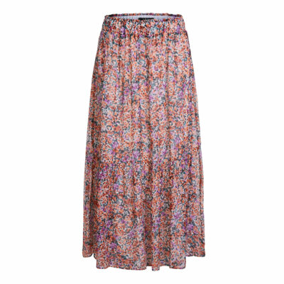 Flounced Skirt With Mille Fleurs Pattern