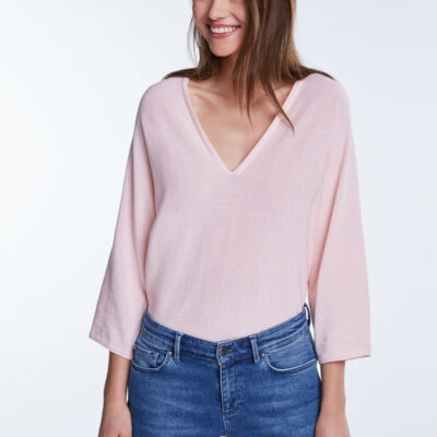 Oversized Jumper With a Deep V-neck