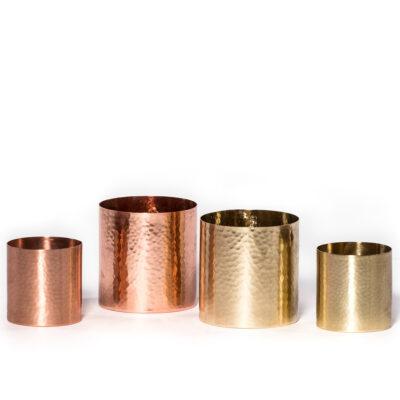 Large Hammered T-light Holder Copper