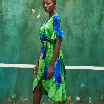 Tie Dye Wrap Dress 10