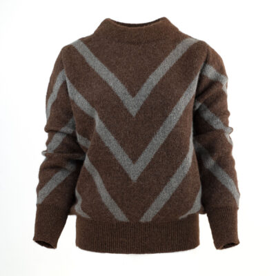 Angela Sweater Dark Rust / Taupe