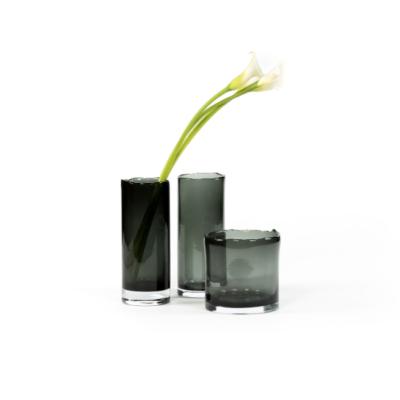 Smoke Glass Organic Rim Vase