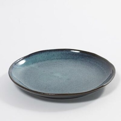 22 x 3 cm Blue Stoneware Speckle Aqua Dessert Plate