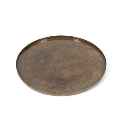 Green Gold Metal Patina Enamel Platter