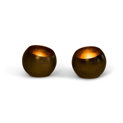 Set of 2 Burned Brass Metal Rounded T Light Holders