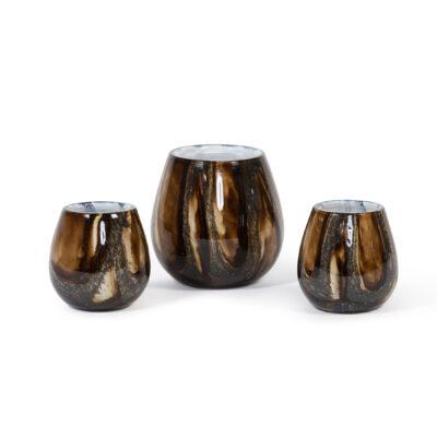 Large Beige Glass Bark Design T Light Holder