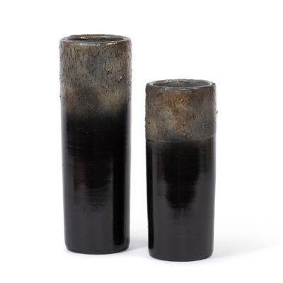 Large Black Terra Cotta Shiny Ceramics Vase