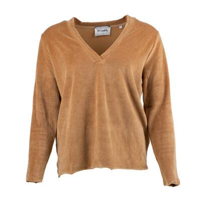 Arta V-Neck Caramel Velour Sweater