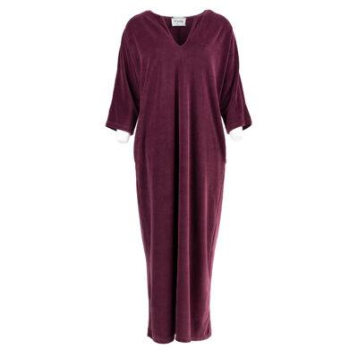 Baleares Long Velour Dress Aubergine