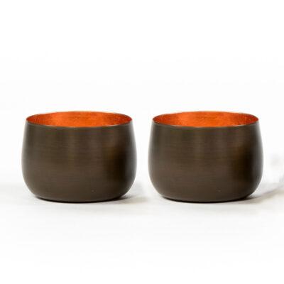Set of 2 T-Light Holders Copper