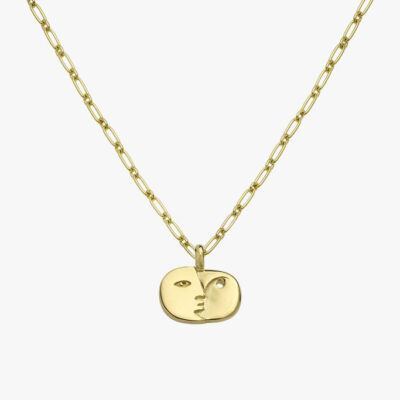 Face Sculpture Pendant Gold