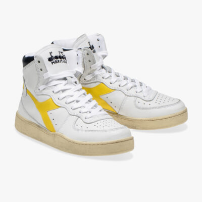 Diadora Heritage Mi Basket – White / Golden Rod