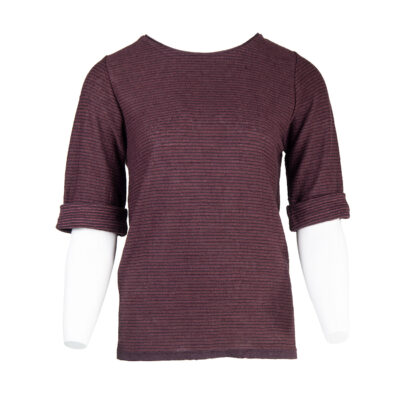 Narcisso Linen Stripes Sweater – Bordeaux