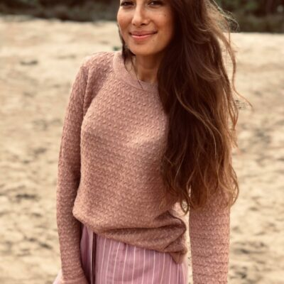 Georgio Linen Sweater – Old Pink