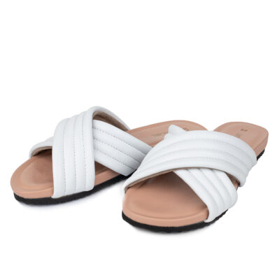 Livthelabel White Leather Slides
