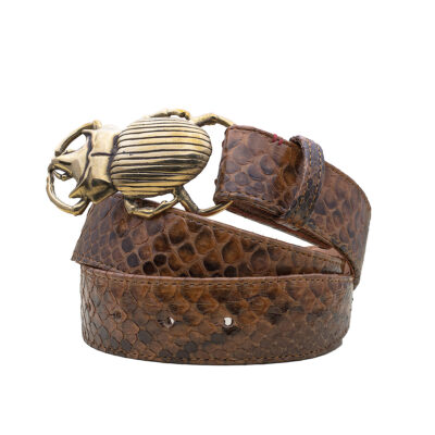 Moka Python Beetle Belt Gold Buckle