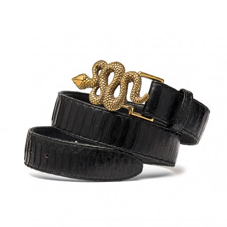 Black Python Snake Belt Gold Buckle