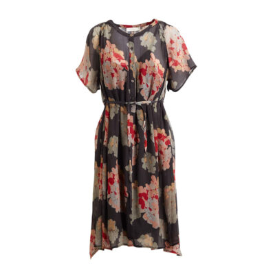 Cleo – Faded Black Multi Flower Dress