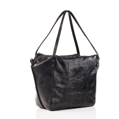 Black Python Shoulder Bag Yvette