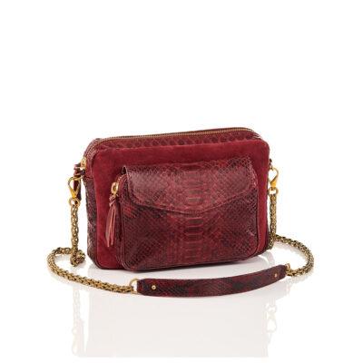 Python and Suede Bag Big Charly Burgundy Chain