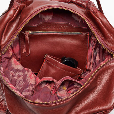 Burgundy Python Shoulder Bag Yvette