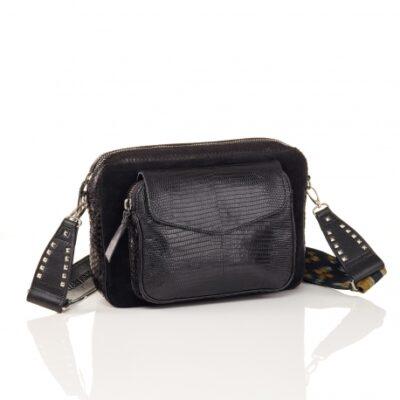 Black Mix Python Bag Jumbo Charly With Shoulder Strap