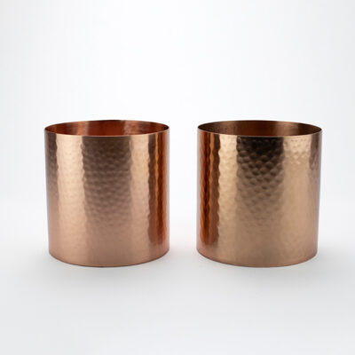 Set of 2 Large Hammered Copper T-light Holders
