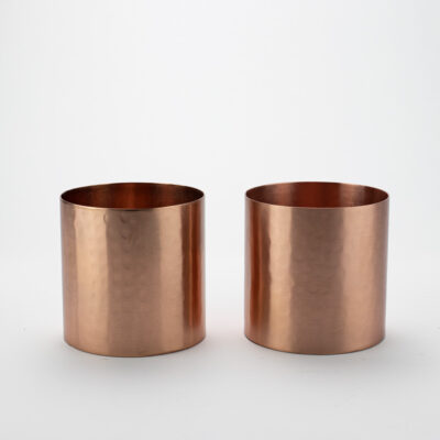 Set of 2 Small Hammered Copper T-light Holders