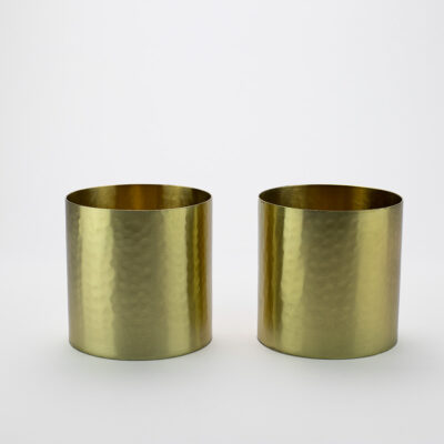 Set of 2 Small Hammered Gold T-light Holders