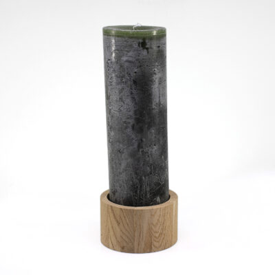 Dark Green Cilinder Candle with Natural Oak Candleholder