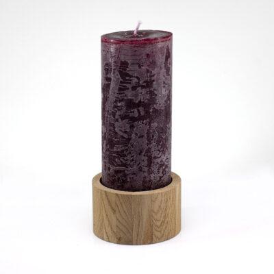 Burgundy Cilinder Candle with Natural Oak Candleholder