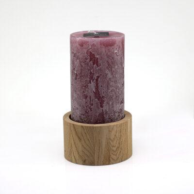 Old Pink Cilinder Candle with Natural Oak Candleholder
