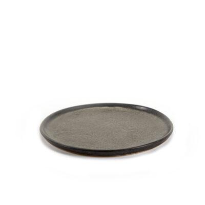 Set of 2 Black Ceramics Pure Plates 16cm