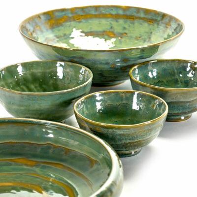 Seagreen Ceramic Pure Salad Bowl 28cm