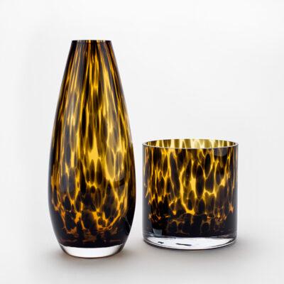 Set of 1 Teardrop Leopard Vase and 1 Small Leopard Vase