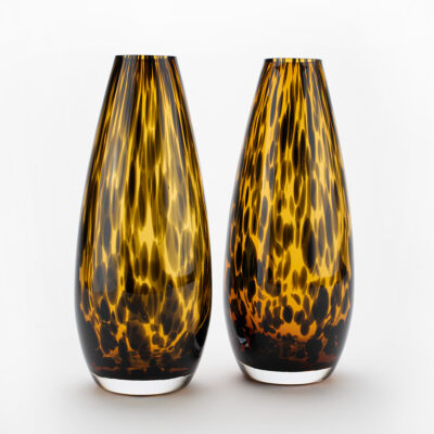 Set of 2 Teardrop Leopard Vases