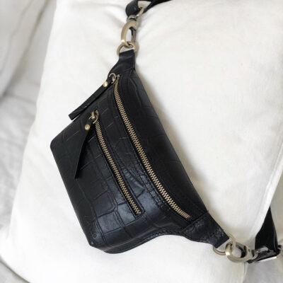 Becks Bum Bag Croco Black