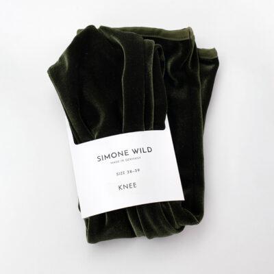 Velvet Knee Socks Olive Green