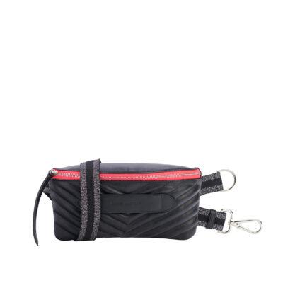 Coachella Quilted Black Neon Pink Belt Bag