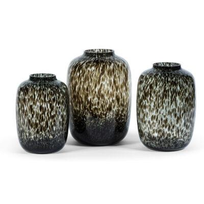 Large Bulb Vase Smoke Leopard Spotted
