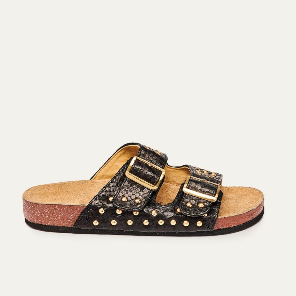 Odette Python Sandals Black
