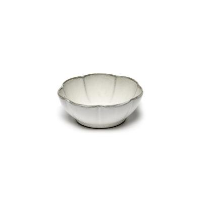 Set of 4 Inku Bowls Ribbed L White