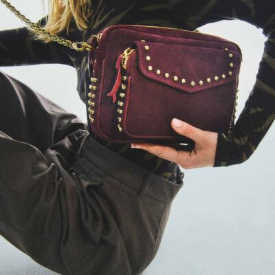 Violet Studded Leather Charly Bag