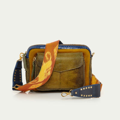 Navy Kaki Lizard and Python Big Charly Bag